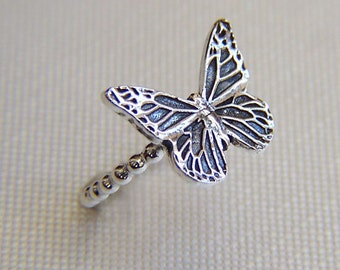 Oxidized Fine silver butterfly ring