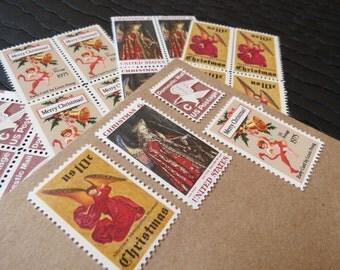 Christmas .. Angel Wings .. UNused Vintage Postage Stamps  .. post 5 letters