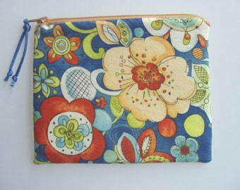Zipper Pouch Cosmetic Purse in  Folklore Paisley and Floral Print