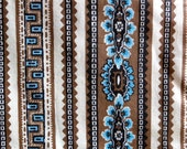 Vintage Brunschwig & Fils Blue Brown Cotton Fabric Yardage - Pokety Farm Screen Print - 3-1/4 yds - Curtain Pillow Crafting - Cottage Chic