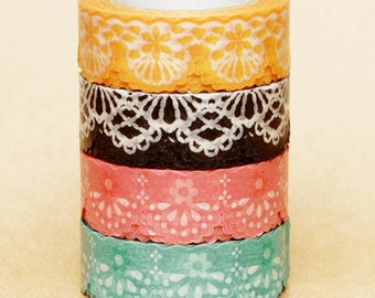 NamiNami Washi Masking Tape - Lace in Apricot, Black, Peach & Mint Green
