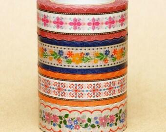 NamiNami Washi Masking Tape - Bavarian in Pink, Navy, Apricot & Line