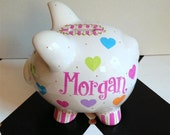 Personalized Piggy Bank - Hearts Design - Size Small- Hand Painted - Pink - Girl- Nursery Decor