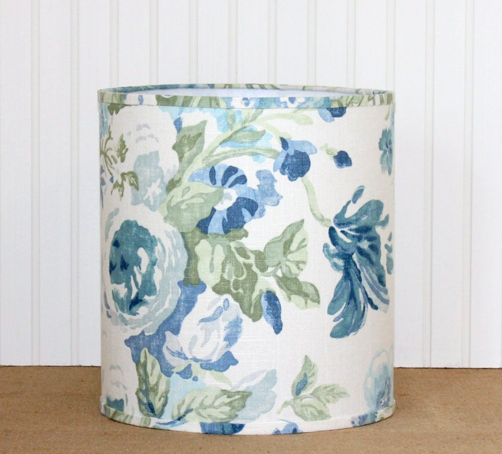 Green Floral Lamp Shade : Sale drum lamp shade lampshade blue and green floral