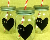 Personalized Heart Chalkboard Labels for Mason Jars-  Chalk Labels- Wedding Favors, Heart Stickers, DIY Chalkboard Mason Jar