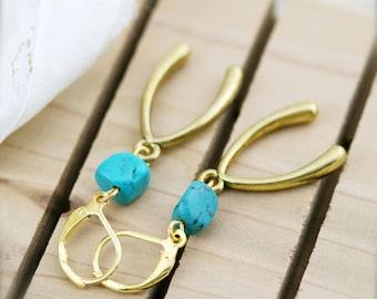 Turquoise wish bone earrings