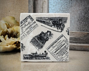 Vintage Trains and Tickets Absorbent Stone Tile Drink Coaster