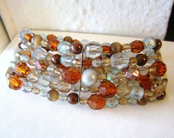 Pretty 5 strand caramel brown and gray beaded stretch bracelet with silver accents