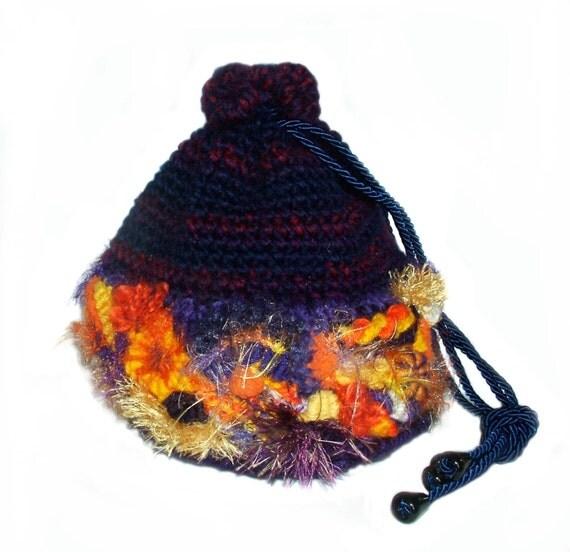 OOAK Drawstring Bag Purse Pouch Handbag Womens Freeform Crochet