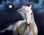 "White Horse ART PRINT, Horse Picture, ""Moonsilver"" From The Original Oil Painting by Marina Petro"