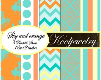 Sky and oragne paper pack - No.129