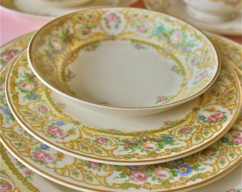 Old Ivory- china sets-Rose Marie Pattern-Rose Marie dishes-LARGE set of china-Syracuse china-romantic china-gorgeous china-holiday china