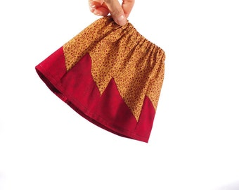 "American Girl doll clothes, 18"" inch doll clothing, fall, autumn, quilt style skirt, maroon, tan, PattiKuz, original, OOAK, AG dolls couture"