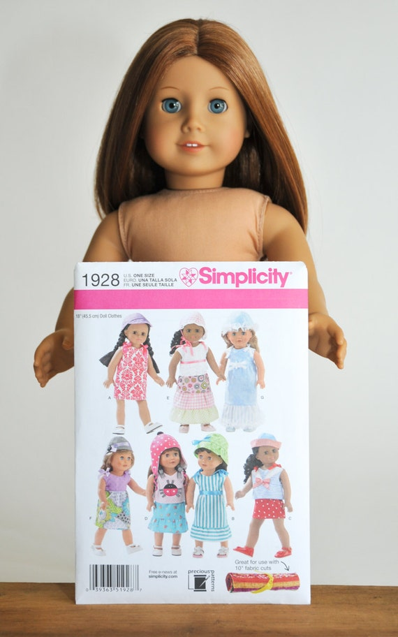 """18"""" inch doll clothes pattern, Simplicity 1928, new, craft, sundress ..."""