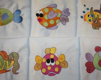 Fancy Fish machine embroidered Quilt Blocks set B