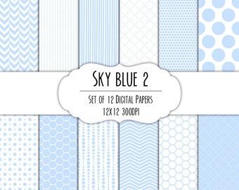 Sky Blue 2 Digital Scrapbook Paper 12x12 Pack - Set of 12 - Polka Dots, Chevron, Stripes, Hexagon - Instant Download - #8097