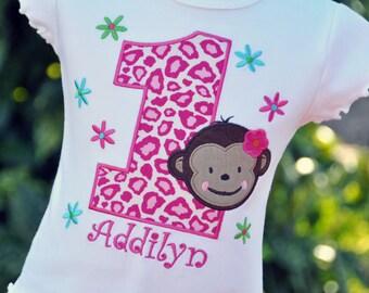 Personalized Monkey Girl Kids Birthday Ruffle Shirt / Flowers / Short sleeve
