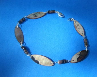 Boho Tribal Shell Anklet Sterling Silver Wrapped