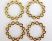Vintage Brass Filigree Finding Beadable Gold Connector Round Wreath 23mm flg0038 (6)