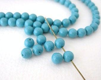 Glass Vintage Beads Blue Turquoise Czech Round 6mm vgb0599 (30)