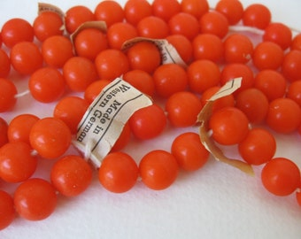 Vintage Beads Bright Orange Glass Rounds West Germany 10mm vgb0733 (6)