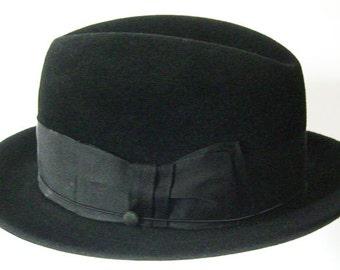 7 3/8 - Vintage DOBBS Black Fur Felt Mens Fedora Hat