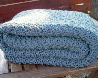 Ready to Ship  Beautiful and Luxuriously Handcrafted CROCHET Blanket Throw PEWTER