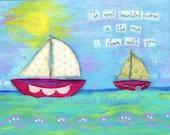 Sailboats, Family Gift, Love, Anniversary, Wedding, Lake Ocean Sea Art Print 8x10, Togetherness