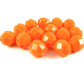 20 - Round Czech Fire Polished Faceted Glass Beads - Opaque Fire Orange - 8mm - FP1OR8