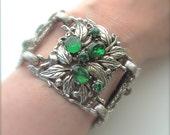 Antique Jewelry Bracelet Ornate Emerald Green Botanical Victorian Cuff, FREE US SHIPPING
