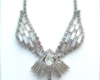 Rhinestone Collar Bib Statement Necklace Formal Wedding Bridal Jewelry
