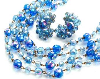 Signed ALICE CAVINESS Indigo Peacock Blue Glass Bead Multi Strand Necklace Designer Jewelry Aurora Borealis,