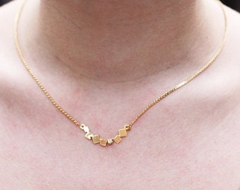 Square Crystal Necklace, Crystal Necklace, Geometric Necklace, Bar Necklace, Gold Chain Necklace
