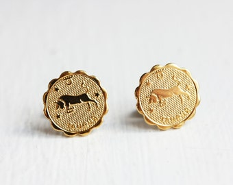 Gold Astrology Studs - Taurus