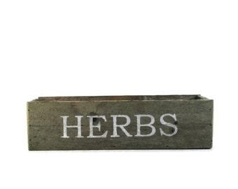 Herb Planter - Reclaimed Wood Box for Herbs - Garden Decor