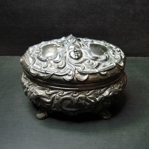 Antique Art Nouveau Jewelry Casket - Metal Jewelry Box - Repousse - Mucha - Goth - Dark - Faces - Boudoir