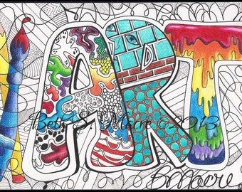 Color Digital Download | ART | Digital Art Print | Pen and Ink and Colored Pencil Doodle | Digital Download | Word Art | Zentangle
