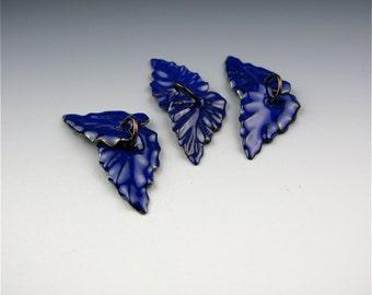 Enameled Ivy Leaves / Cobalt enamel / Made to order