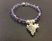 Silver Grape and Purple Glass Stretch Bracelet