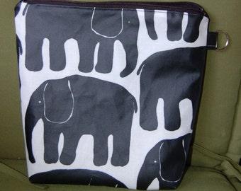 "Elephant OIL CLOTH Wet, Swim, Baby Bag, pouch, waterproof, Finland, 9x9"", zipper"
