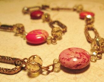 Fuschia Impression Jasper and Copper Necklace