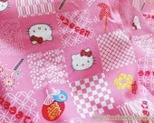 Kawaii Red Bow Hello Kitty Cherry Blossom Pinwheel Fireworks Asanoha Traditional Pattern Patchwork-Cotton Fabric(Fat Quarter)