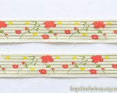 2 Yards Sewing Tape/Ribbon - Chic Spring Colorful Orange Yellow Floral On Green Stripe