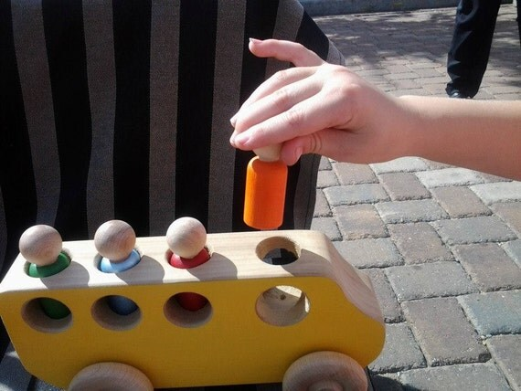 Yellow Wooden toy School Bus