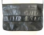 Black Leather Two Flap Compartment Shoulder Bag