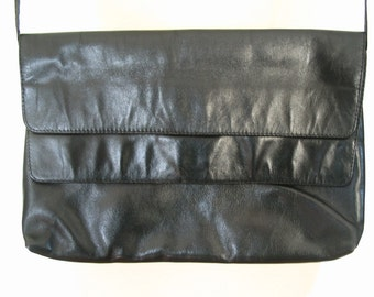 Black Leather Two Flap Compartment Shoulder Bag
