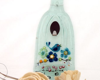 Recycled  Wine Bottle and Fused Glass Wall Hanging Rack , painted  blue  bird on a Branch.