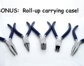 """5 Piece 4.5"""" Pliers Set with Carrying Case - Round-nose, Nippers, Side Cutters, Chain-nose"""