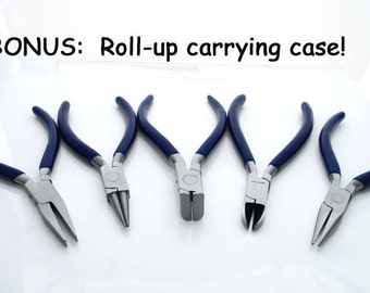 "5 Piece 4.5"" Pliers Set with Carrying Case - Round-nose, Nippers, Side Cutters, Chain-nose"