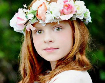 Idea Bridal hair wreath Statement Flower crown girl Halo pink peach floral headpiece garland romantic wedding accessories couronne de fleur
